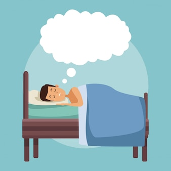雲の吹き出しで夜にベッドで夢を見るカラフルなシーンの男