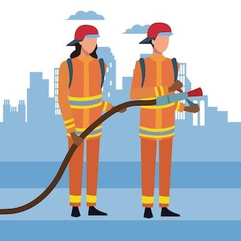 都市の消防士