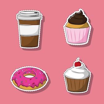 コーヒーとデザートの漫画のセット