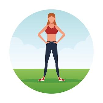 運動をしているフィットネス女性
