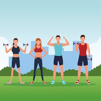 運動をしているフィットネスの人々