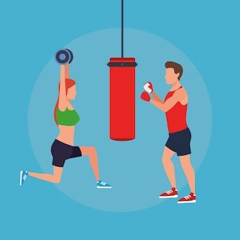 運動をしているフィットネスカップル