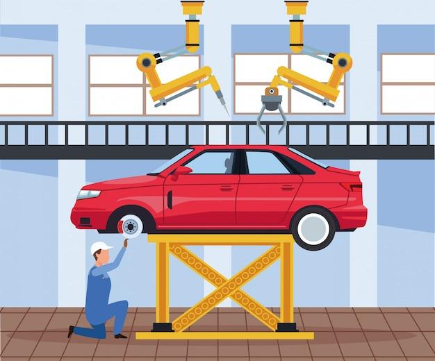 自動車工場の労働者