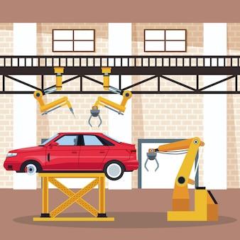 車の工場とショップ