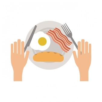 アメリカ料理の朝食