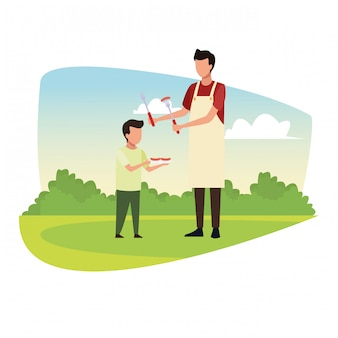家族のバーベキューピクニック