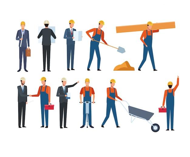 建設作業員と建築家