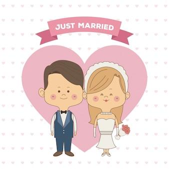 Только что женился пара невесты с блондинкой волосы и жених