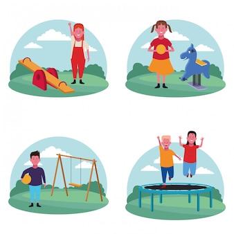 遊び場での子供たちのセット