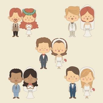 Установить полный пара невесты и жениха в свадебных костюмах