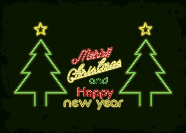 Веселая рождественская открытка неоновый свет