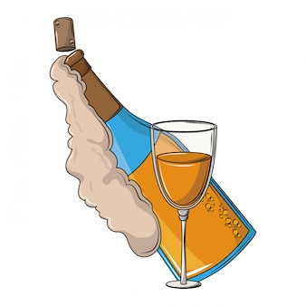 シャンパンのボトルとカップ