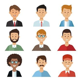 セット半体グループ人男性と白い背景