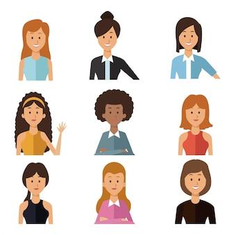セット半分の体のグループの人々の女性と白い背景