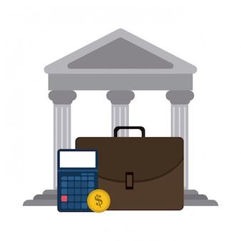 銀行ビルとブリーフケース