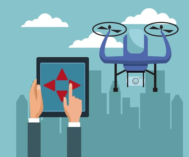 飛行機とカメラ付きの紫色の無人機による遠隔操作