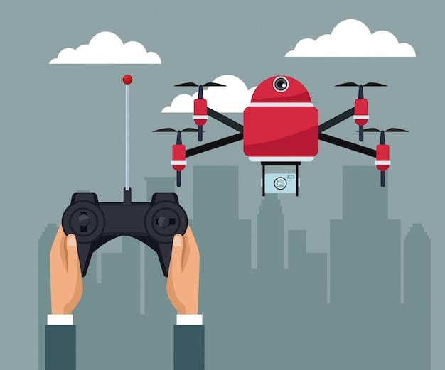 リモートコントロール飛行とカメラを扱う