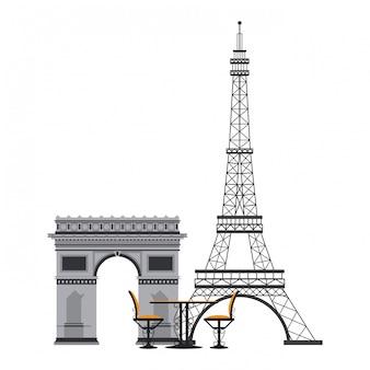 ヴィンテージテーブルと椅子のエッフェル塔