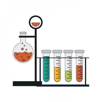 科学実験と調査青い線