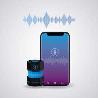 ワイヤレススピーカーに接続されたスマートフォン