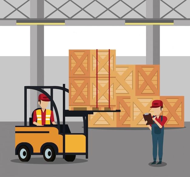 倉庫で働く宅配業者
