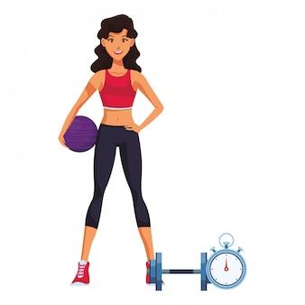 Фитнес женщина мультфильм