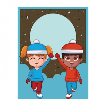 Мальчик и девочка с картой зимней одежды