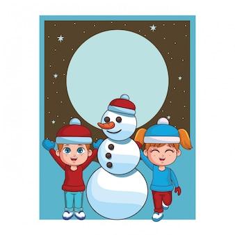 Зимний мальчик и девочка со снеговиком