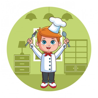 Мультфильм шеф-повар мальчик