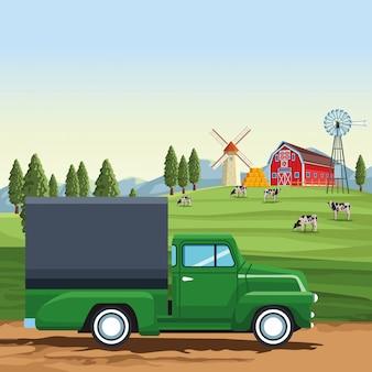農場の貨物トラック
