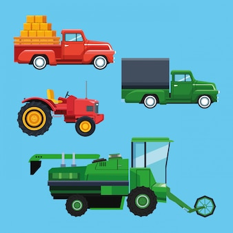 農場用トラクターと車両