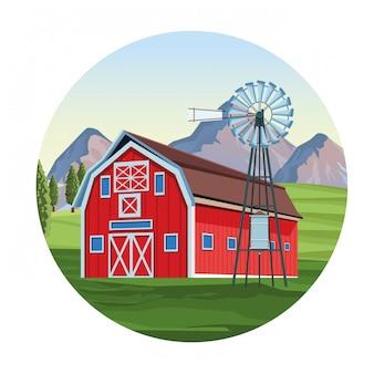 Ферма с сараем пейзажи