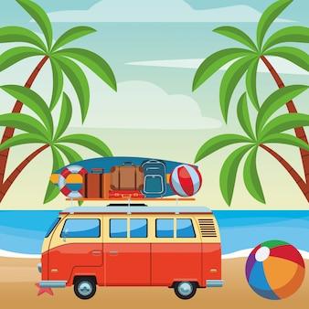 キャンピングカーバンおよびビーチ用品