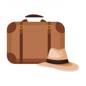 パナマ帽とスーツケース