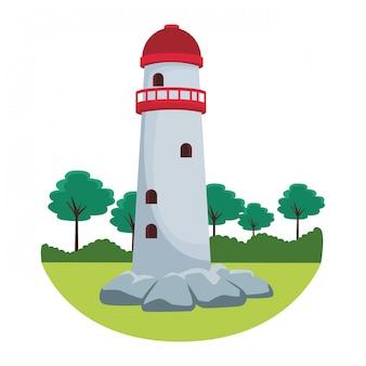 灯台の田園風景