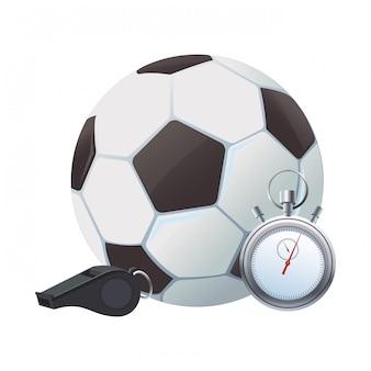 サッカーボールとストップウォッチ