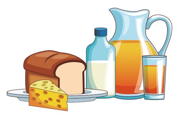 オレンジジュースとパン