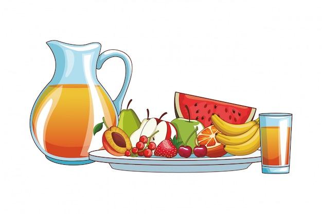オレンジジュースとフルーツ