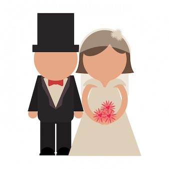 新郎新婦のカップルのアバター