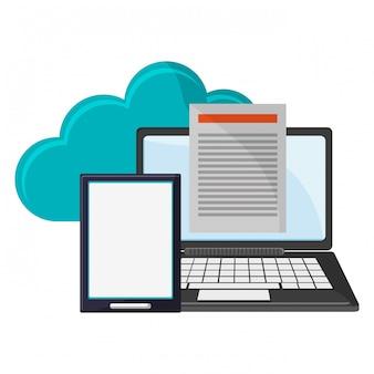 クラウドコンピューティングのラップトップとタブレットと文書