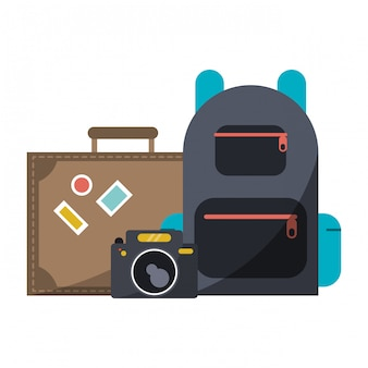 旅行スーツケースカメラとバックパック