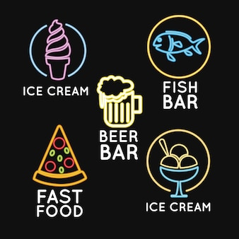 食品ネオンライト広告