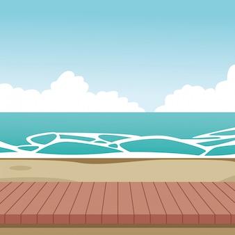 木製のビーチ風景漫画