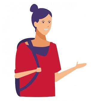 Девушка повседневная одежда рюкзак