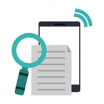 Смартфон с документом и увеличительным стеклом
