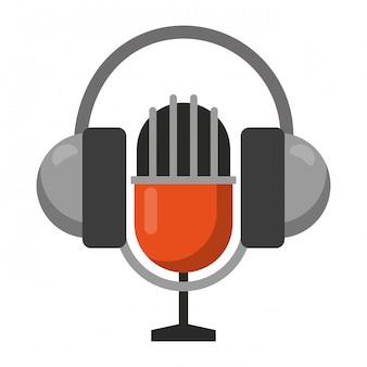 Винтажный микрофон и наушники