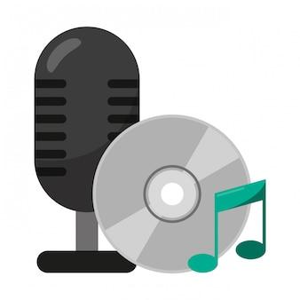 Винтажный микрофон и музыкальный компакт-диск