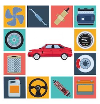 自動車工場と部品