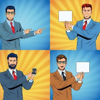 ビジネスマンポップアート漫画