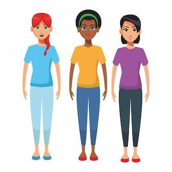 Мультфильм тела молодых женщин
